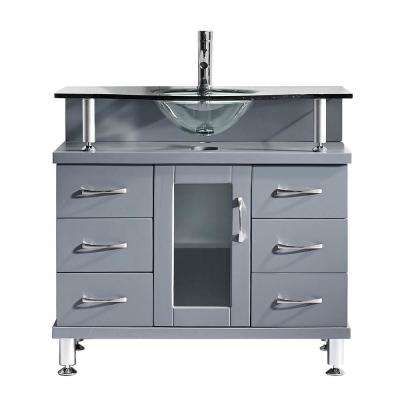 Vincente 36 in. W Bath Vanity in Gray with Glass Vanity Top in Aqua with Round Basin