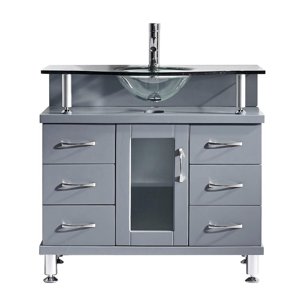 Virtu USA Vincente 36 in. W Bath Vanity in Gray with Glass Vanity ...