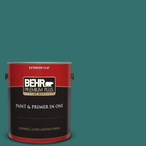 Behr Premium Plus 1 Gal 500d 7 Caribbean Green Flat Exterior Paint And Primer In One 430001 The Home Depot