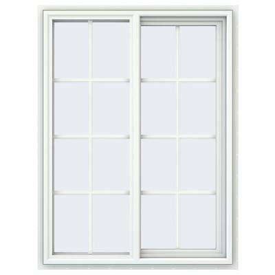 35.5 in. x 47.5 in. V-4500 Series White Vinyl Right-Handed Sliding Window with Colonial Grids/Grilles
