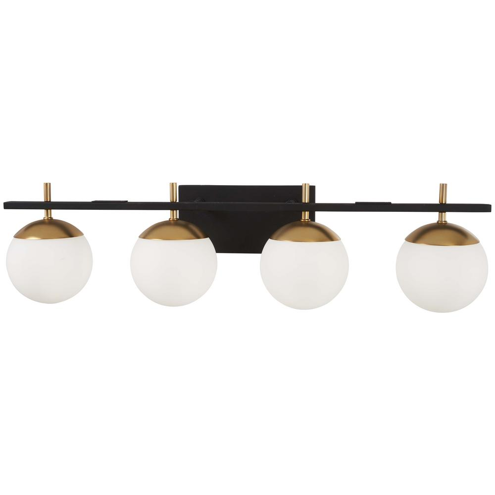 George Kovacs Alluria 4 Light Weathered Black With Autumn Gold Accents Bath