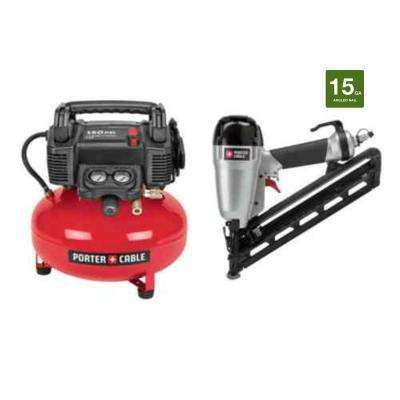 6 Gal. 150 PSI Portable Electric Air Compressor and 15-Gauge Finish Nailer Combo Kit (2-Tool)