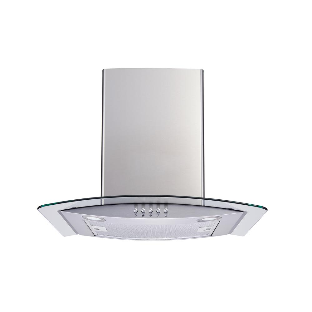 Nutone Ns5400 29 5 In Bent Glass Convertible Chimney Range Hood In Stainless Steel Ns5430ss The Home Depot