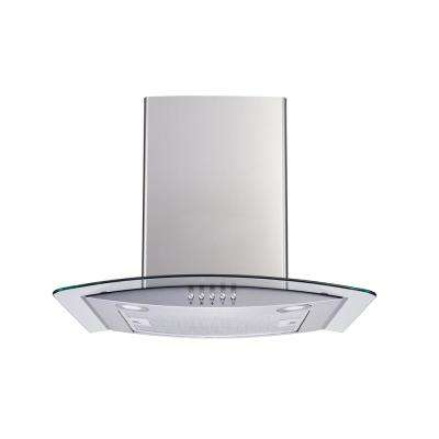 30 in. Convertible Wall Mount Range Hood in Stainless Steel and Glass with LEDs, Aluminum Filters and Push Button