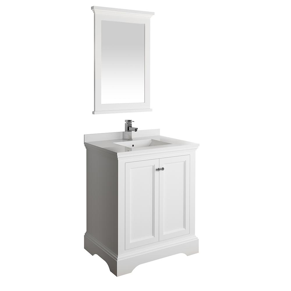 Fresca Windsor 30 in. W Traditional Bath Vanity in Matte White with Quartz Stone Vanity Top in White with White Basin, Mirror