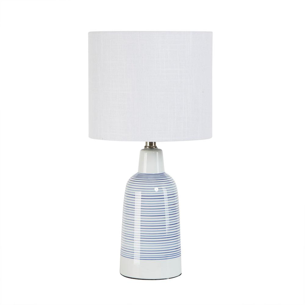 Silverwood Trevella 19 5 In White And Blue Striped Ceramic Jug Table Lamp With Shade