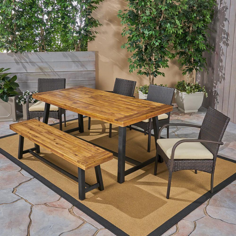 Tara Sandblast Teak Brown 6-Piece Wood and Multi-Brown Wicker Outdoor Dining Set with Cream Cushions