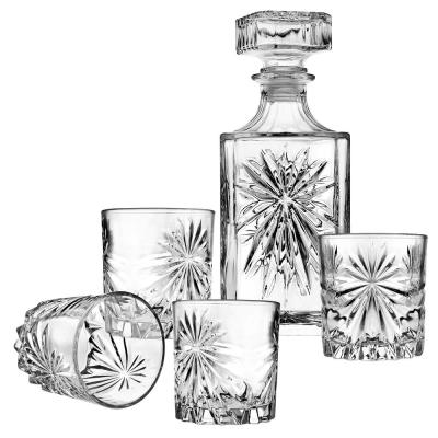 Studio Silversmiths Starburst Clear Crystal Decanter and Whiskey Set