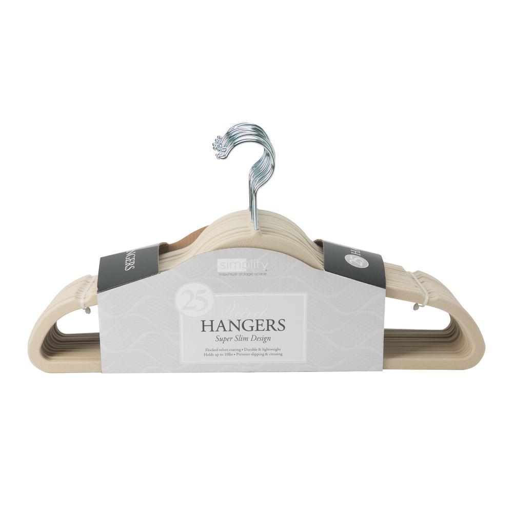 Slim Ivory Velvet Suit Hanger (25-Pack)