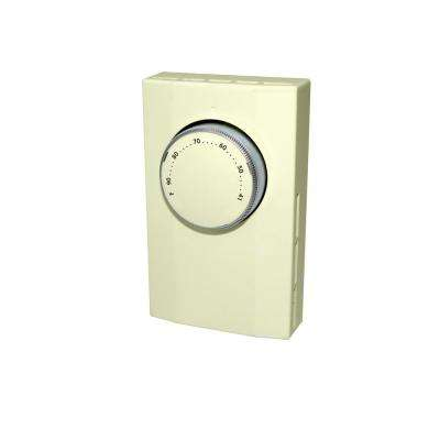 Line Voltage Double Pole Mechanical Bi-Metal Thermostat in Almond