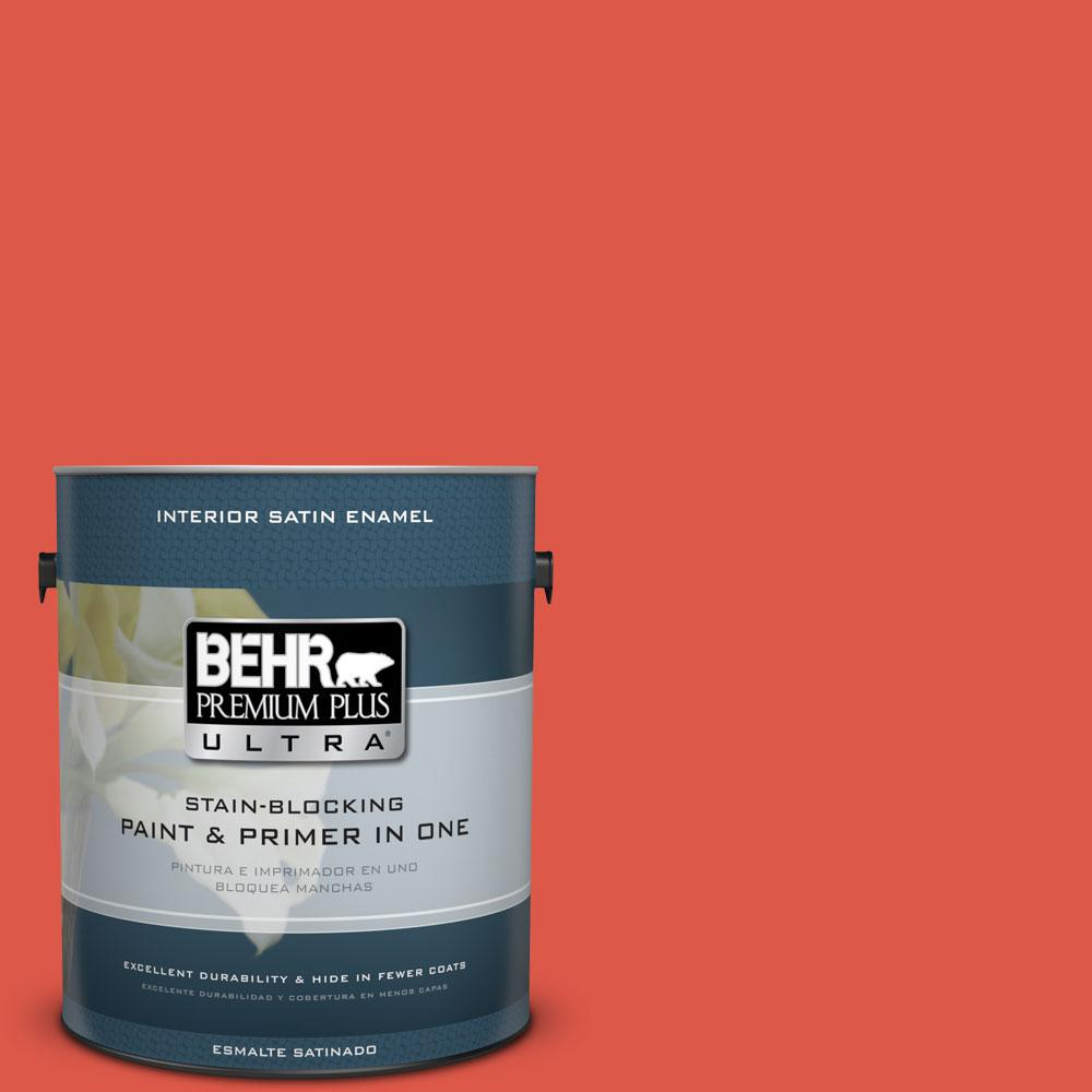 #180B 6 Fiery Red Satin Enamel Interior Paint And Primer