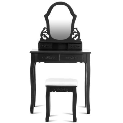 2-Piece Black Vanity Makeup Dressing Set Table Jewelry Wooden Stool Mirror (4-Drawer)
