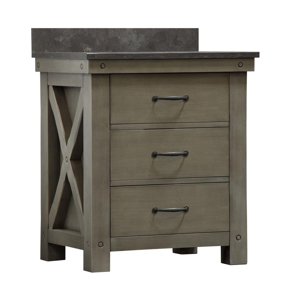 Water Creation Aberdeen 30 in. W x 34 in. H Vanity in Gray with Granite Vanity Top in Limestone with White Basin and Faucet