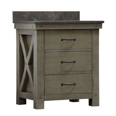 Aberdeen 30 in. W x 34 in. H Vanity in Gray with Granite Vanity Top in Limestone with White Basin and Faucet
