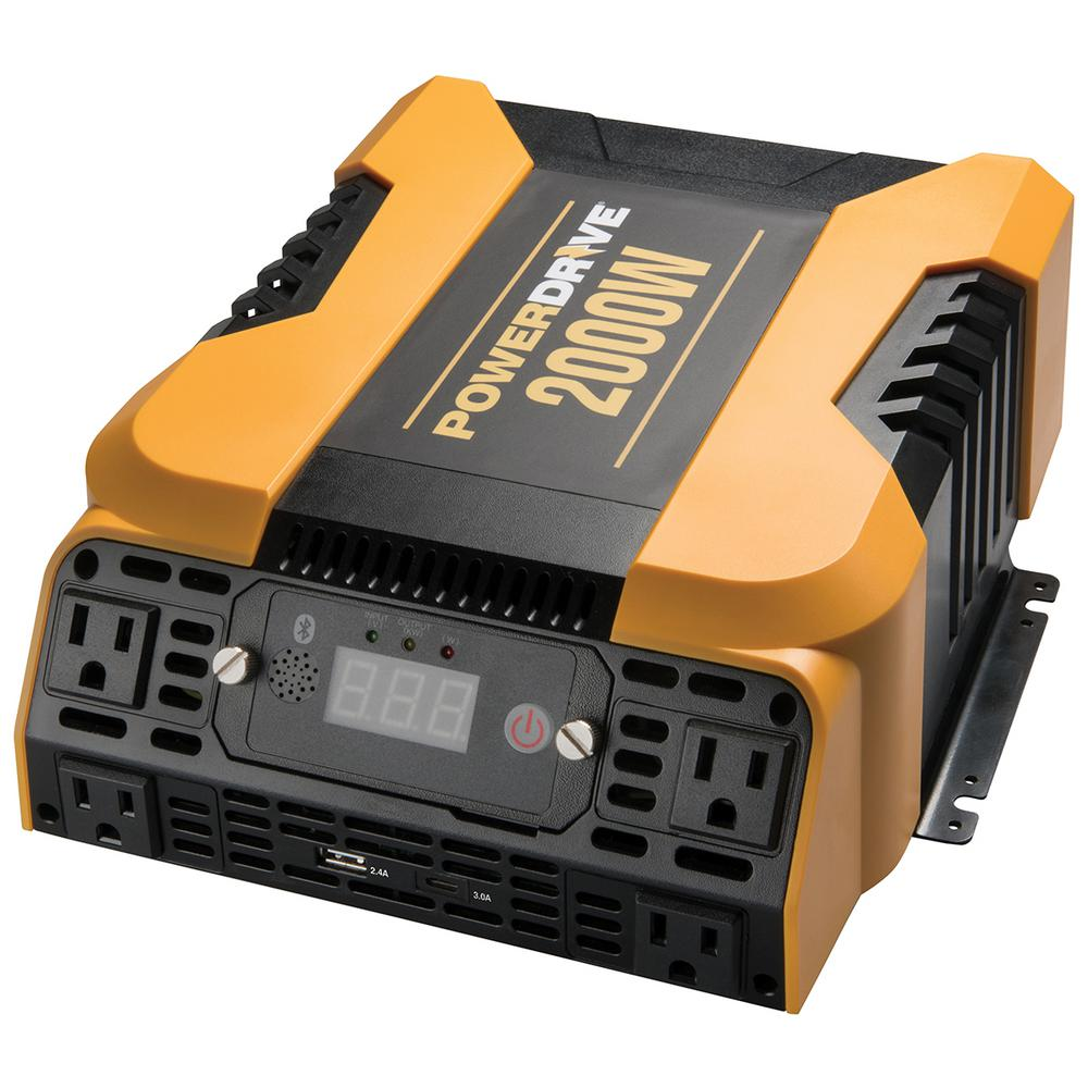 PowerDrive 2000-Watt Power Inverter with 4 AC, Dual port - Standard USB 2.4 Amp and USB-C 3.0 Amp port, APP with Bluetooth