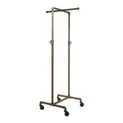 Pipeline 72 in. H x 21 in. W Anthracite Gray Metal Adjustable Garment Rack with 2-Way Crossbar