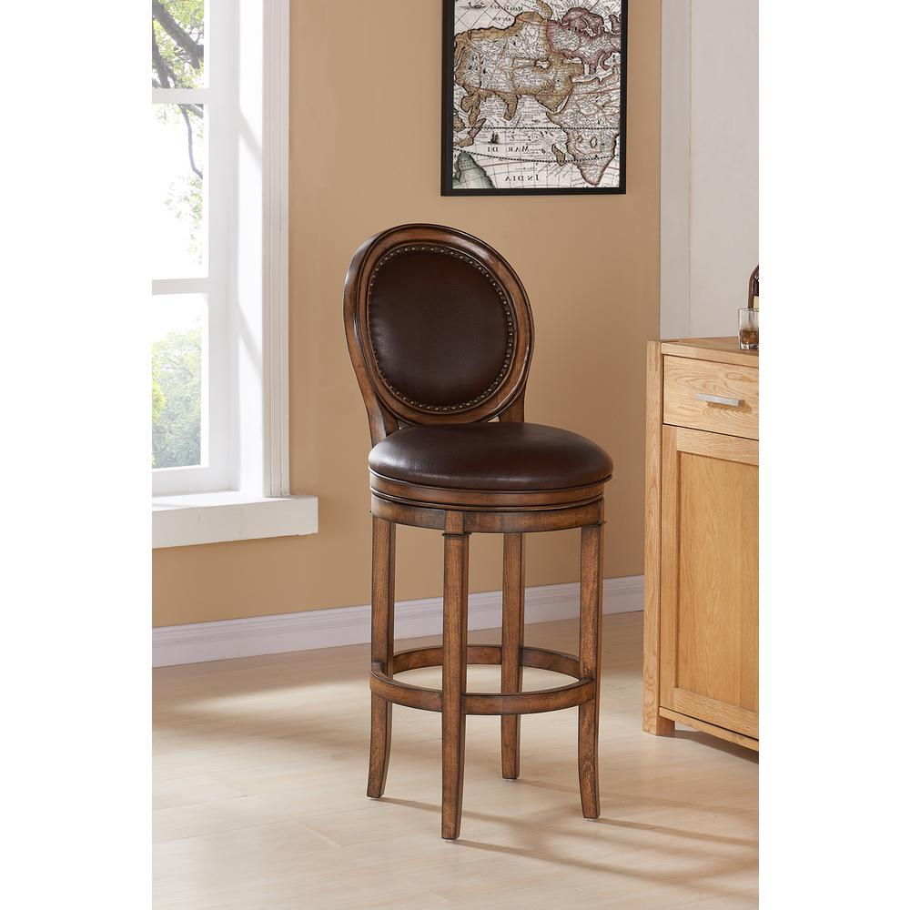 Armen Living Greece 26 In. Kahlua Faux Leather And Chestnut Wood Finish  Swivel Barstool