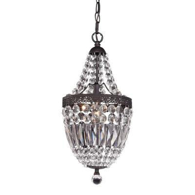 1-Light Dark Bronze and Clear Mini Chandelier