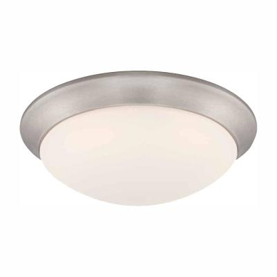 11 in. 120-Watt Equivalent Brushed Nickel Integrated LED Flush Mount with Frosted White Glass Shade
