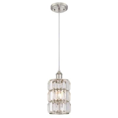 Sophie 1-Light Brushed Nickel Mini Pendant with Crystal Prism Shade
