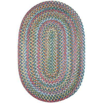 Bouquet Sapphire 2 ft. x 4 ft. Oval Indoor/Outdoor Braided Area Rug