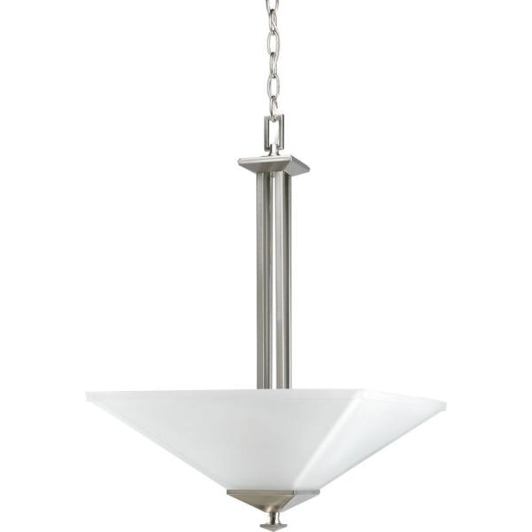 North Park 2-Light Brushed Nickel Foyer Pendant with Etched Glass