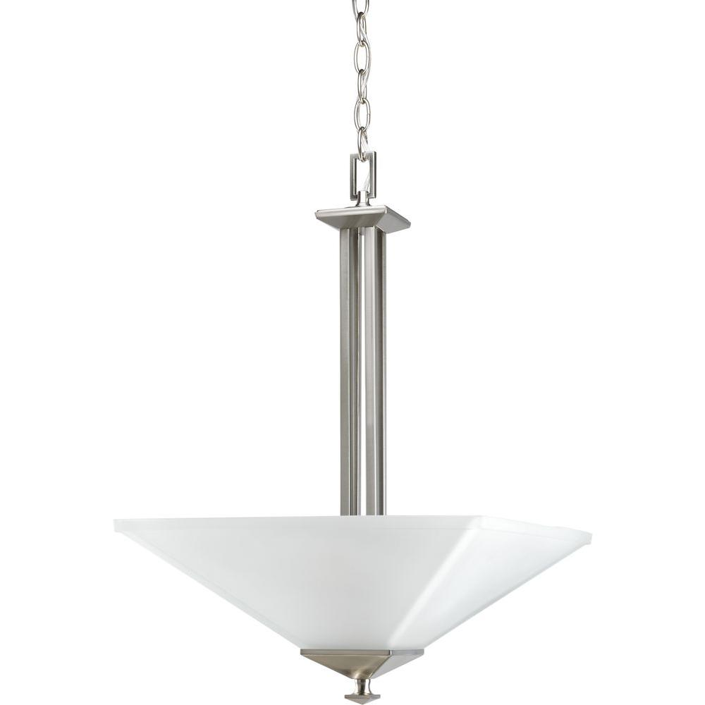 North Park Collection 2-Light Brushed Nickel Foyer Pendant with Etched Glass