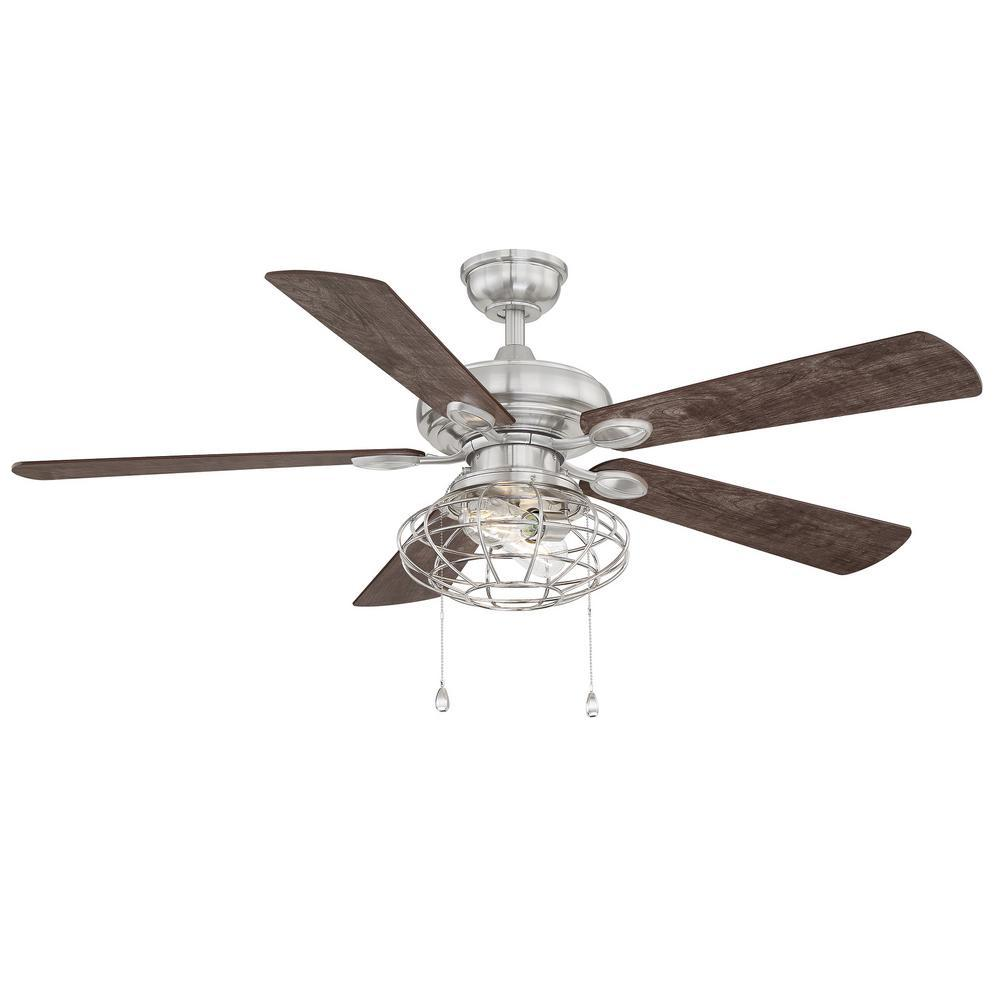 Home Decorators Collection Ellard 52 in. LED Brushed Nickel Ceiling Fan with Light Kit