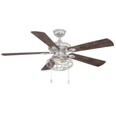 Ellard 52 in. LED Brushed Nickel Ceiling Fan with Light Kit