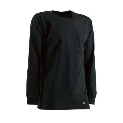 Men's Large Regular Black Cotton and Polyester Heavyweight Long Sleeve Pocket T-Shirt