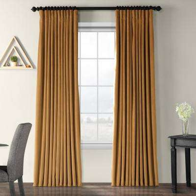 Blackout Signature Amber Gold Doublewide Blackout Velvet Curtain - 100 in. W x 120 in. L (1 Panel)