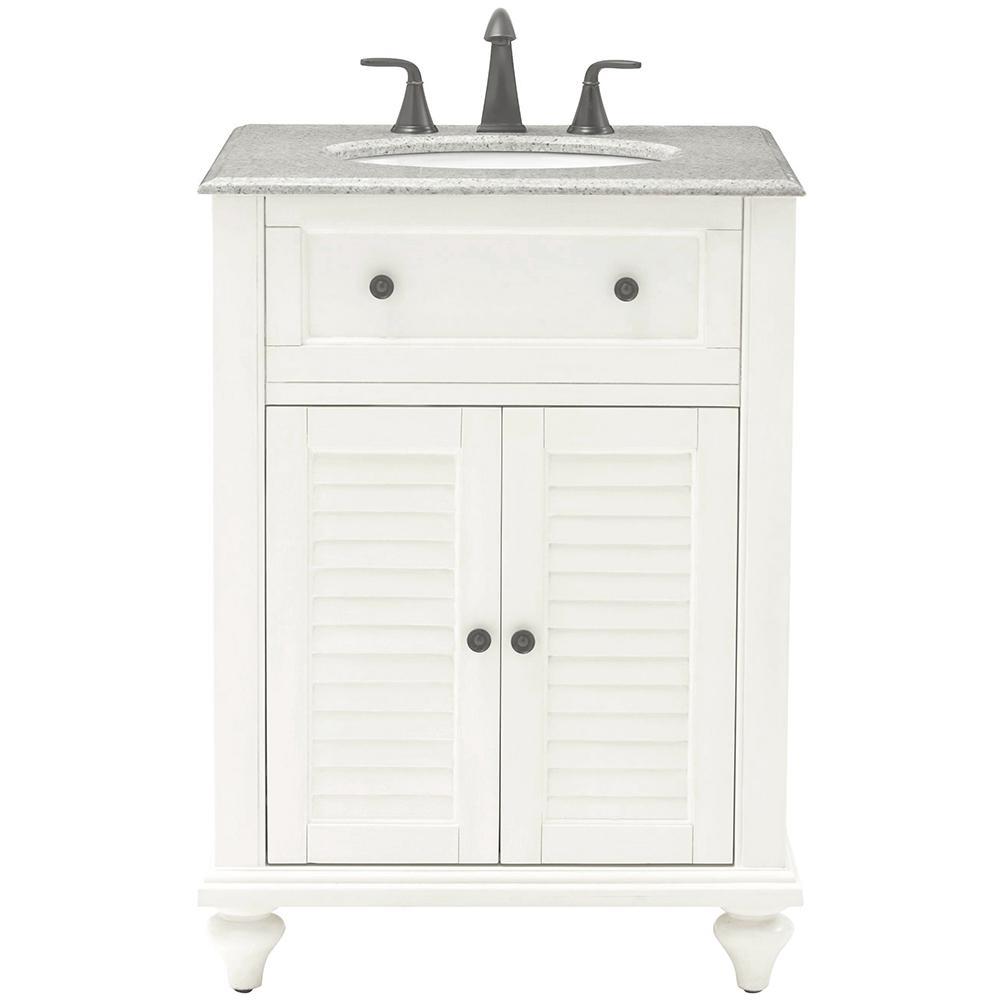 Hamilton Shutter 25 in. W x 22 in. D Bath Vanity in Ivory with Granite Vanity Top in Grey