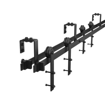 8 ft./96 in. Black Bypass Sliding Barn Hardware Track Kit for Double Wood Doors with Non-Routed Door Guide