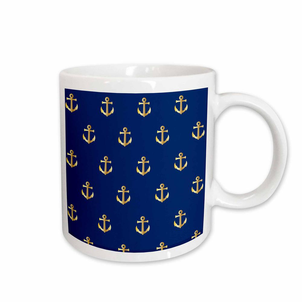 Rose Florene Nautical Decor Print Of Gold Anchors On Navy Blue Repeat Pattern 11 Oz White Ceramic Coffee Mug 212650 1 The Home Depot