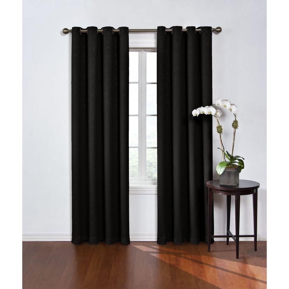 Blackout Round and Round Black Polyester Grommet Blackout Curtain - 52