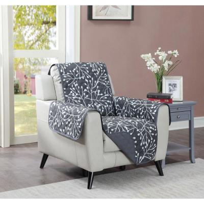 Branches 1-Piece Graphite Microfiber Relaxed Fit Chair Furniture Protector