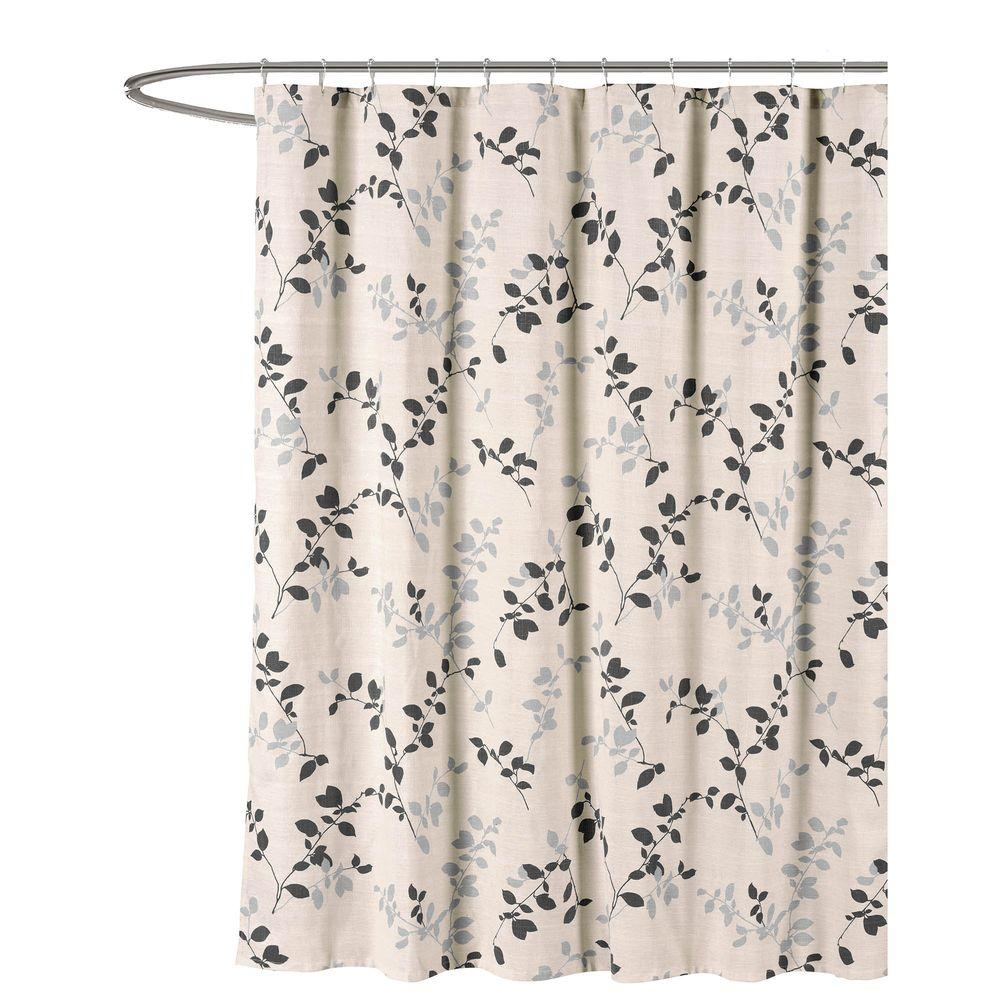 Meridian Printed Cotton Blend 72 In W X L Soft Fabric Shower Curtain Charcoal Beige