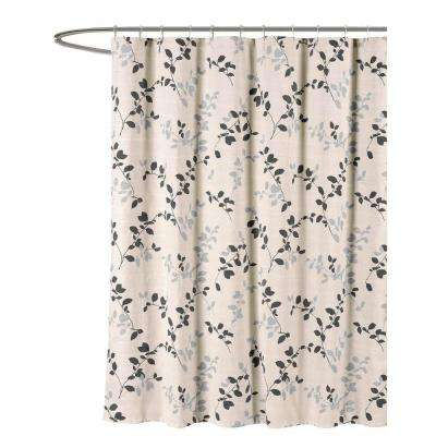 Meridian Printed Cotton Blend 72 in. W x 72 in. L Soft Fabric Shower Curtain in Charcoal/Beige