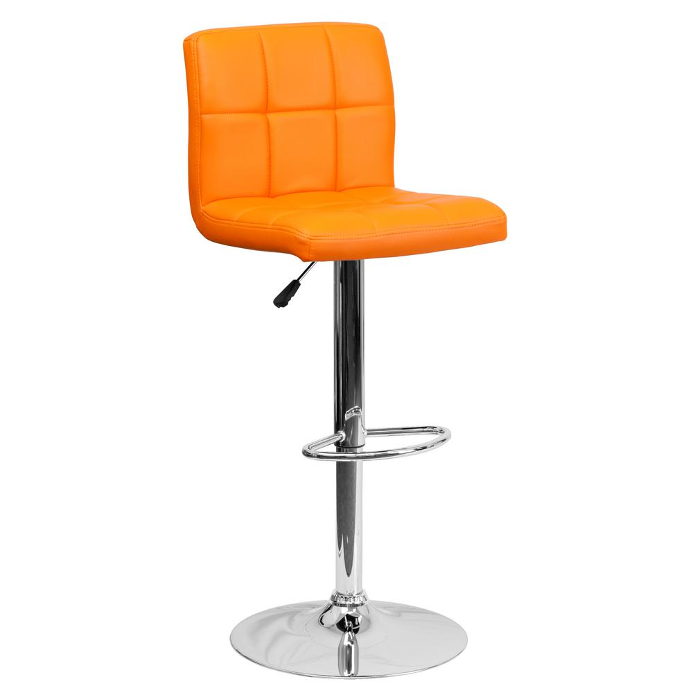 34 in. Adjustable Height Orange Cushioned Bar Stool