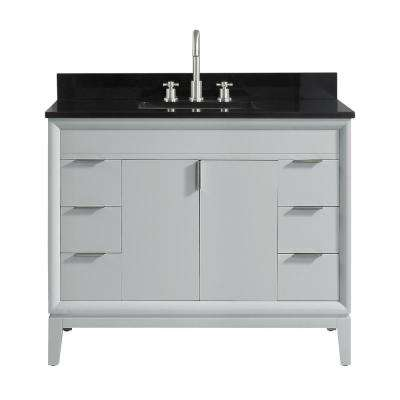 Emma 43 in. W x 22 in. D x 35 in. H Bath Vanity in Dove Gray with Granite Vanity Top in Black with White with Basin