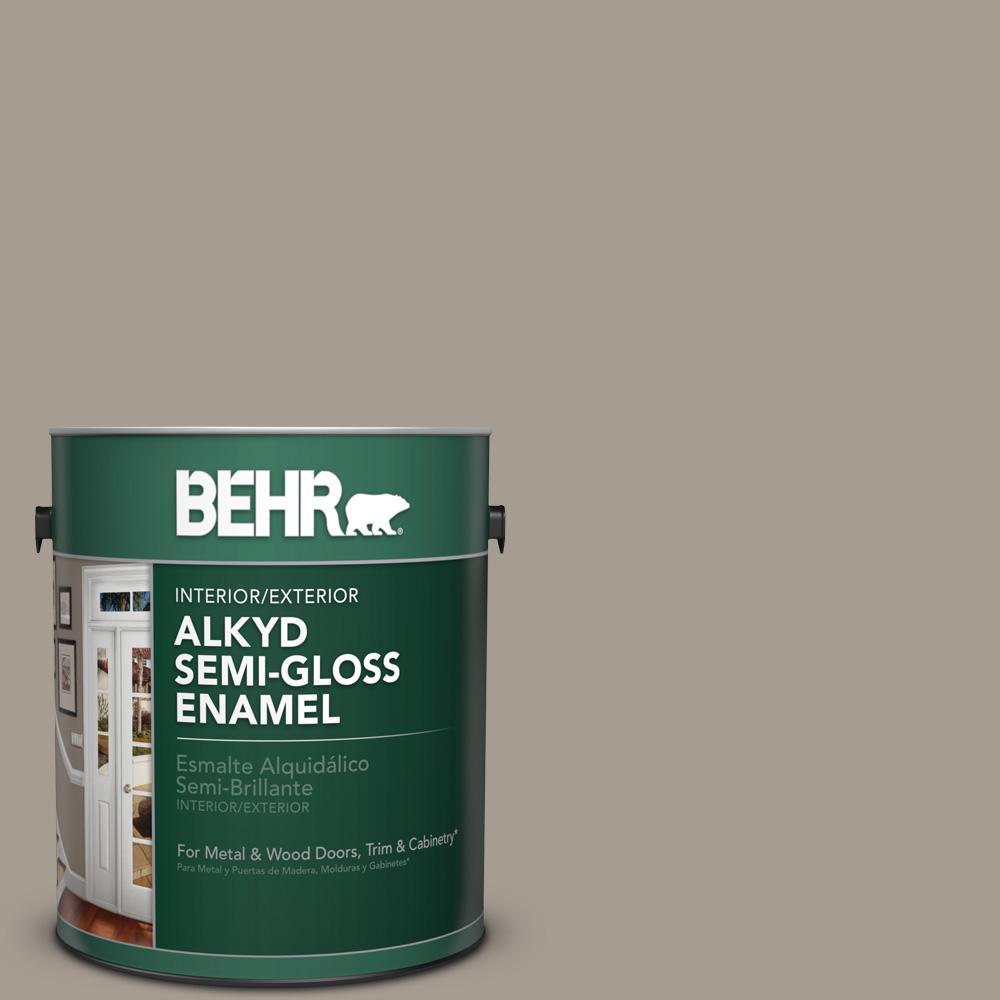 1 gal. #N200-4 Rustic Taupe Semi-Gloss Enamel Alkyd Interior/Exterior Paint