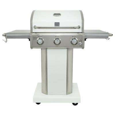 3-Burner Propane Gas Pedestal Grill with Foldable Side Shelves-Pearl