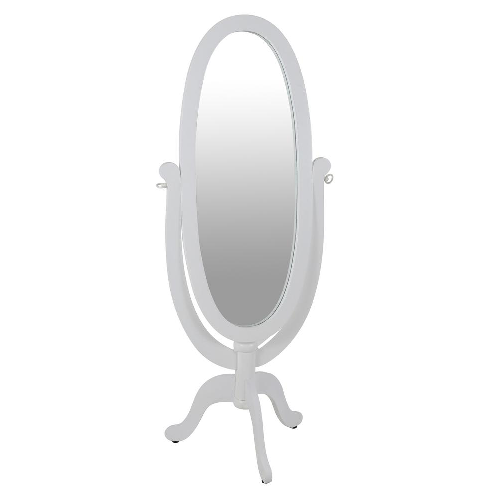 Caroline Cheval Oval White Floor Mirror