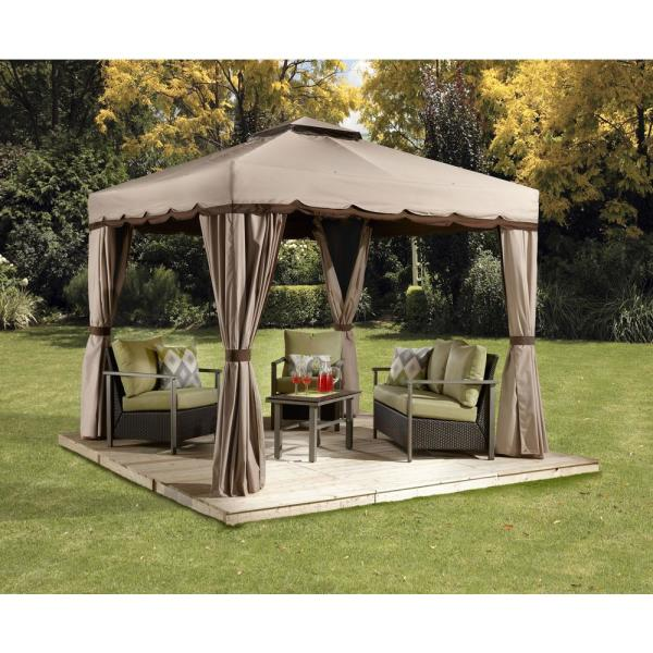 Sojag 10 Ft D X 10 Ft W Roma Aluminum Gazebo With Polyester Roof 2 Pole System And Nylon Mosquito Netting 500 9165388 The Home Depot