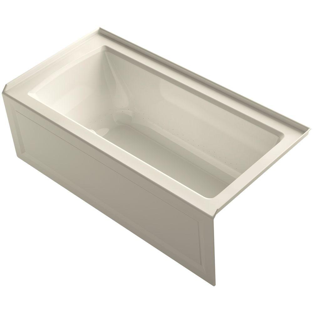 KOHLER Archer 5 ft. Walk-In Whirlpool and Air Bath Tub in Almond-K ...