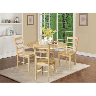 5 Piece Set - Natural Solid Wood 42 in. Round Drop-leaf Table with 4 Side Chairs