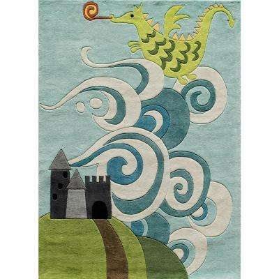 Lil Mo Whimsy Dragon Sky Blue 3 ft. x 5 ft. Indoor Kids Area Rug