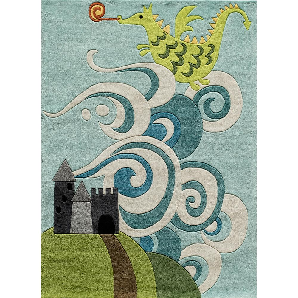 Momeni Lil Mo Whimsy Dragon Sky Blue 4 Ft X 6 Ft Indoor Kids Area