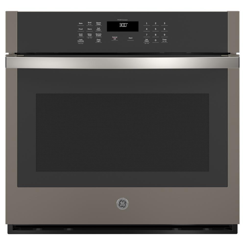 Ge 30 In Smart Single Electric Wall Oven Self Cleaning Slate Fingerprint