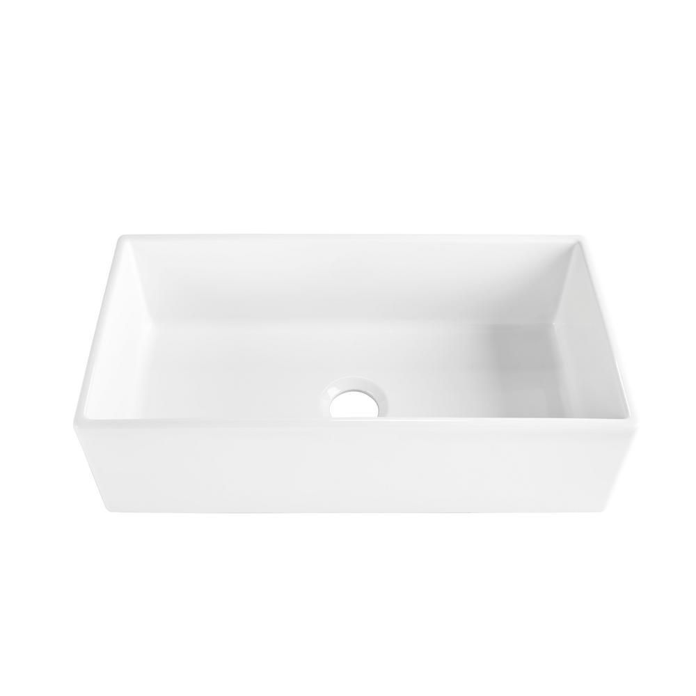 SINKOLOGY Harper Farmhouse/Apron-Front Fireclay 36 in. Single Bowl Kitchen Sink in Crisp White